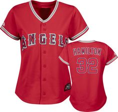 Josh Hamilton Jersey: Women's Alternate Scarlet #32 Los Angeles Angels of Anaheim Replica Jersey
