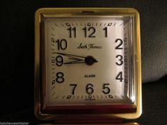 Vintage SETH THOMAS Wind Up Folding Travel Alarm Clock, Works well
