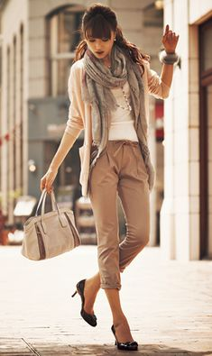beige pants & white tops with pink beige cardigan