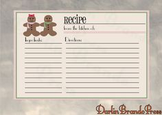 Gingerbread Men Recipe Card Printable by DarlinBrandoPress on Etsy Printable Recipe Cards, Gingerbread Men, Paper Products, Journalling, Printables, Holidays, Book, Handmade Gifts, Cards