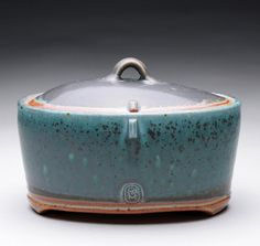 speckled turquoise oval lidded jar by rmoralespottery on Etsy