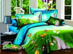 New Arrivals Romantic Colorful Butterfly With High Quality 4  Pieces Bedding Sets on sale, Buy Retail Price Scenery Bedding Sets at Beddinginn.com