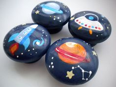 Drawer Knobs for Children- Handpainted- Space Theme