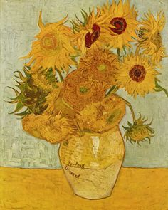 "Van Gogh Doctor Who Sunflowers...these made me cry. Yeah, just too bad I have this exact picture in my room... I mean without""for Amy"" of course... Love it #vincentvangogh"