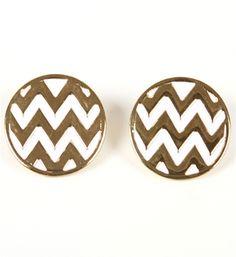 White & Gold Chevron Stripe Button Earrings. want some chevron in my wardrobe!