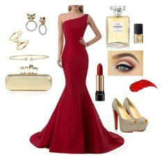 """""""Inside out - anger gown"""" by zetalini on Polyvore featuring Christian Louboutin, Lancôme, Charlotte Tilbury, NARS Cosmetics, Chanel, Alexander McQueen, Forevermark, Betsey Johnson and Elizabeth and James"""