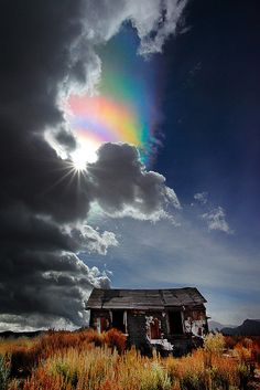 "The Ice Crystal Rainbow (Not), Lee Vining Ca by ™ Pacheco, via Flickr. ""The iridescence produced by small water droplets in the pileus cloud."" - Les Cowley from Atmospheric Optics."