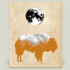 Fun Indie Art from BoomBoomPrints.com! http://www.boomboomprints.com/Product/TAKdesigns/Buffalo_Under_the_Moon/Art_Prints/8x10_Print/