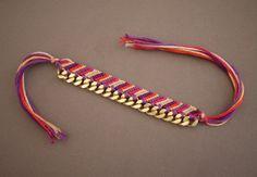 Bracciale crochet con catena oro