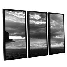 ArtWall Chris Tuff's 'Boat On The Horizon' 3 Piece Floater Framed Canvas Set