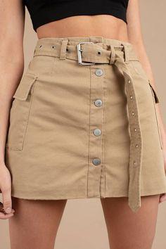 Dienst Khaki Cargo Minirock -Im Dienst Khaki Cargo Minirock - Korean Style Button Front Skirt - Brown Poster Grl Miss Behaving Cargo Skirt Khaki Skirt Outfits, Casual Outfits, Mini Skirt Outfits, Biker Outfits, Cargo Pants Outfit, Casual Skirts, Girly Outfits, Grunge Outfits, Mini Skirt Dress