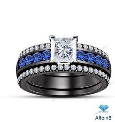 3.35CT Princess Diamond & Sapphire Bridal Ring Set In 925 Silver V Prong Setting #Affoin8