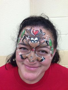 My Rudolph the Red-Nosed reindeer Christmas Face Painting :-)