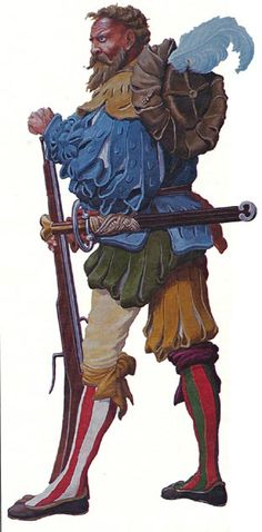 Landsknechte would use the arquebus, the precursor to the musket. When the Landsknechte were first formed, arquebusiers composed up to an eighth of the total number of soldiers, but the number gradually grew to be about a quarter.