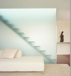 visibility: translucent wall(s)? Interior Stairs, Interior Architecture, Interior Design, Stairway Gallery Wall, Acid Etched Glass, Glass Railing, Staircase Glass, Staircase Design, Divider Design
