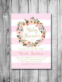Baby Shower Girl Invitation Baby Girl Pink Gold Personalized Invite Pastel Colors Flower Wreath Lines (PRINTABLE File Download Custom Order) by NicoleBCDesign on Etsy https://www.etsy.com/listing/262011175/baby-shower-girl-invitation-baby-girl