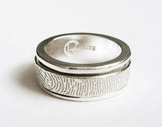Fingerprint Spinner Ring by RebeccaGeoffrey on Etsy