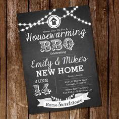 Chalkboard Housewarming BBQ Invitation - Housewarming Party - Housewarming BBQ - Instantly Downloadable and Editable File - Print at Home!