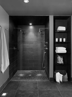 Doorless Shower Designs Teach You How To Go With The Flow Bathroom Spa Bathroom Design, Pictures, Remodel, Decor and Ideas - page nachher Verweis Badezimmer Aufbewahrungslö. Spa Bathroom Design, Spa Design, Bathroom Spa, Bathroom Renos, Basement Bathroom, House Design, Bathroom Ideas, Design Ideas, Bathroom Remodeling