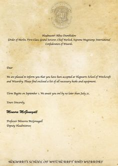Diy instructions how to make a hogwarts acceptance letter very harry potter theme harry potter merchandise harry potter parties harry potter quotes free printable harry potter hogwart acceptance letter spiritdancerdesigns Gallery