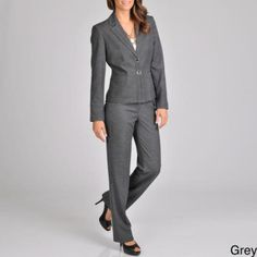 Signature by Larry Levine Women's Pant Suit (Grey )