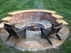 """Brick fire pit...I like that it's a true fire """"pit"""" (sunken) and has a raised half ledge for extra seating (and wind blocking)"""