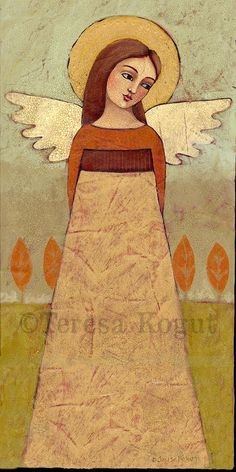 """Autumn Angie"" acrylic painting by Teresa Kogut #angel #art"