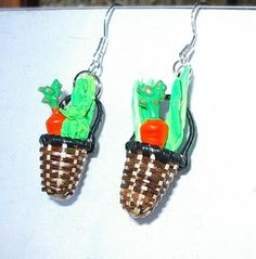 Cute! Market Basket Veggie Earrings. $15.00, via Etsy.