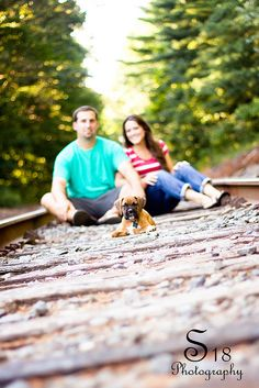 Railroad tracks - posing option with our dog, Leroy!