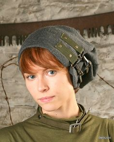 Reconstructed Military Surplus/ Men's or Women's Gray Wool Slouch Army Winter Hat