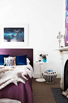 bedroom-white-purple-cushions-hide-rug-nov14