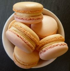 Rhubarb and custard macarons with Yorkshire forced rhubarb. All naturally coloured and made with local free range eggs