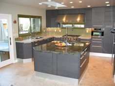 green and grey kitchen | ... Kitchen Design Used Grey Kitchen Cabinet Furniture And White And Green