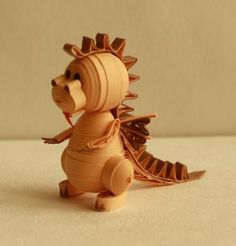 Quilled 3D dragon