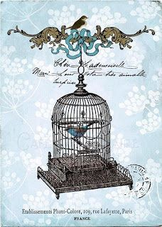 Decoupage laminates: vintage laminates Wendy P cages, antique chairs, lamps ... birds ....