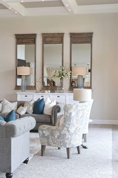 Wall color is Benjamin Moore Collingwood Bathroom Paint Colors, Kitchen Paint Colors, Paint Colors For Living Room, Bedroom Colors, Neutral Wall Colors, Neutral Walls, Front Door Paint Colors, Wall Paint Colors, Front Room Decor