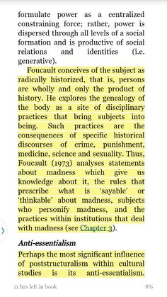 Foucault Barker, C. (2012). Cultural studies: theory and practice (4th ed.). London: SAGE. 1009