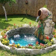 30 fantastic garden waterfall for small garden ideas ideas decoration Do what is right, not what is easy. 30 fantastic garden waterfall for small garden ideas Garden Waterfall, Small Waterfall, Waterfall Drawing, Waterfall Island, Waterfall Shower, Pond Design, Ponds Backyard, Outdoor Fish Ponds, Terraced Backyard
