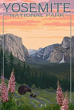 Yosemite National Park, California - Bears and Spring Flowers Travel Poster #affiliate
