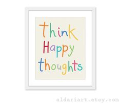 Think Happy Thoughts  Digital Print Colorful Art by AldariArt, $18.00