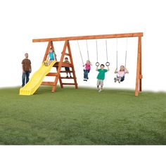 Swing-n-Slide Ready to Build Custom Pioneer DIY Swing Set Hardware Kit - Project 150 Minus the weird side bar sticking out Playground Design, Backyard Playground, Backyard For Kids, Playground Ideas, Backyard Ideas, Playground Toys, Kids Yard, Backyard Swings, Play Yard