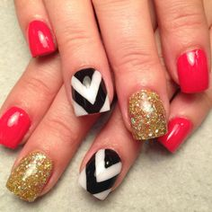 coral gold and chevron nails