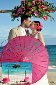 What do you think of these vibrant, fuchsia pink Paper Parasol accents for a Barbados Destination Wedding?  Couples travel from all over the world to Barbados for their big day, and many bring props, favours, and / or décor items with them for no other reason than they simply like them, or because they are meaningful to them!    'Pin it' if you think paper parasol accents are cool. http://barbadosweddings.com