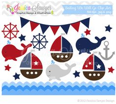 INSTANT DOWNLOAD sailing clip art, whale clipart, sail boat, nautical graphic, commercial use for invitations, announcements, design