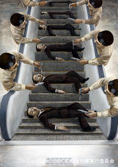 Tetsuya Ishida - surrealist self-portraits in man-made settings