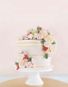 """See the """"Blooming Dessert"""" in our A Modern Hotel Destination Wedding in Las Vegas gallery This beautiful cake is by Andrea's at Encore. Beautiful Wedding Cakes, Gorgeous Cakes, Pretty Cakes, Amazing Cakes, Cupcakes, Cupcake Cakes, One Tier Cake, Wedding Cake Inspiration, Wedding Ideas"""