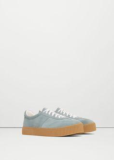 Tennis en cuir lacées - Chaussures pour Femme   MANGO France Chaussure,  Femme, Mode 46617fc62ff
