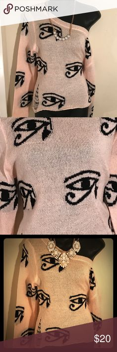 Light -Pink Sweater with Black Egyptian Symbol Snug-fitting sweater for Spring weather. This can be worn casually or on a dinner date. Just add accessories 👌💋 Sweaters Crew & Scoop Necks