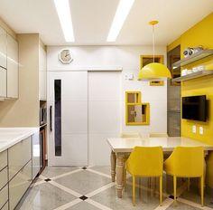 Cozinha por Bianca da Hora #kitchen #homedecor #cocina #decoração #apartamentodecorado #cozinhaplanejada #cozinhamoderna #interiordesign #cozinhaamarela