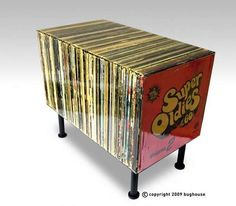 Fake Retro Record Tables - The Super Oldies Side Table Only Looks Like It's Made of Vinyls